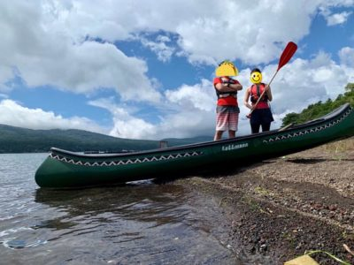 山中湖でカヌー