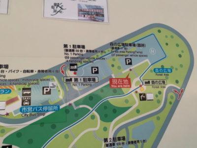 第1、2、臨時駐車場の地図